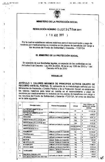 RESOLUCIÓN 3470 DE 2011.pdf - Vademecum MED-INFORMATICA