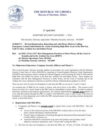 Maritime Security Advisory 1/2011 - liscr