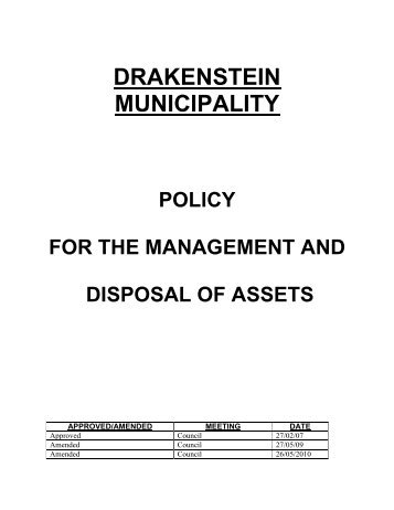 Management and Disposal of Assets Policy - Drakenstein municipality