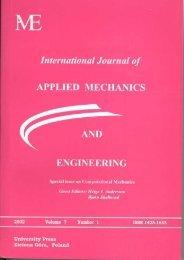 International Journal of Applied Mechanics and Engineering