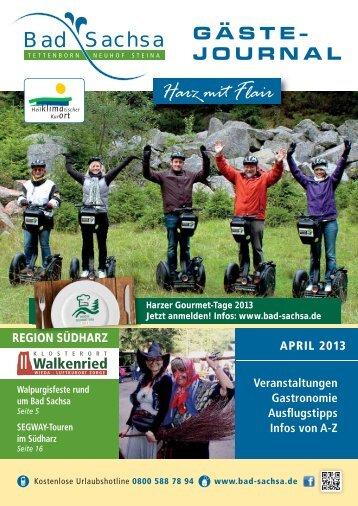 Gästejournal April 2013 (PDF) - Samtgemeinde Walkenried