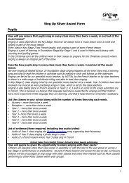 Sing Up Silver Award Form Pupils