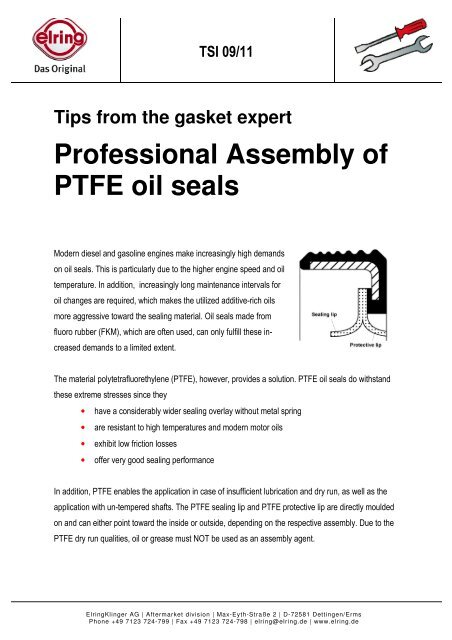 Professional Assembly of PTFE oil seals - Elring