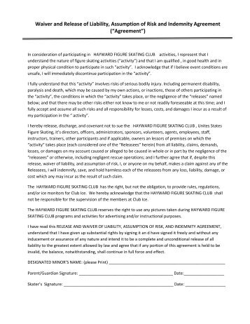 Agreement To Participate With Waiver And Release Of Liability