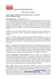 RADIO TELEVISION HONG KONG Non-Civil Service Vacancy ...
