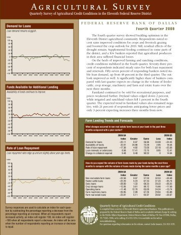 Agricultural Survey, 4th quarter 2009 - Federal Reserve Bank of Dallas