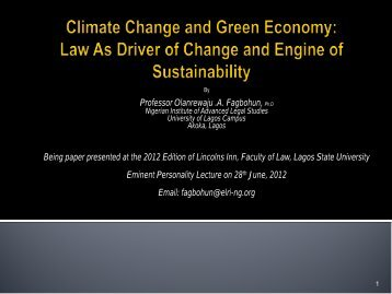Climate Change and Green Economy - Environmental Law ...