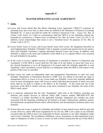 Appendix D Master Operating Lease Agreement Texas