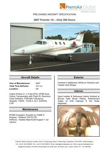 PRE-OWNED AIRCRAFT SPECIFICATION - Business Air Today