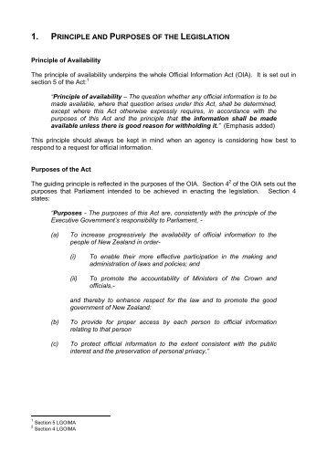 1. PRINCIPLE AND PURPOSES OF THE LEGISLATION