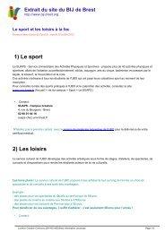 Le sport et les loisirs à la fac - Brest Information Jeunesse