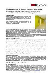 Pflegeempfehlung für Belcolor Linoleum Bodenbeläge - Rent-a-Shop