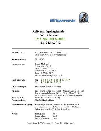 Ausschreibung - RSV Wittichenau e.V. - Turnier 2012