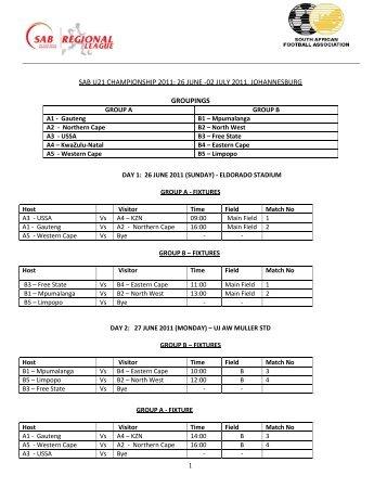 SAB U-21 Championship Fixtures 26 June