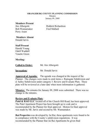 Planning Comm. Minutes January 1 09, 2008 - Orangeburg County
