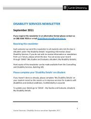 Disability Services newsletter September 2011 - Unilife - Curtin ...