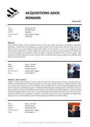Fevrier 2013 - Nouveautés Romans Ados.pdf - TERVILLE
