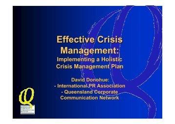 Managing Crises - a workshop - Queensland Corporate ...