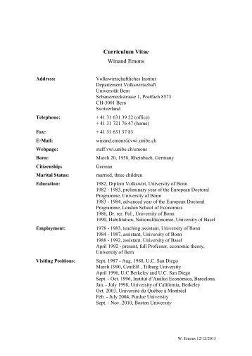 Curriculum Vitae Abteilung Fur Sozialpsychologie Universitat Bern