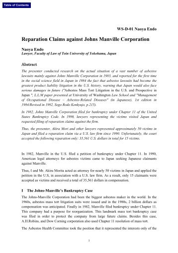 Reparation Claims against Johns Manville Corporation - Clydebank ...