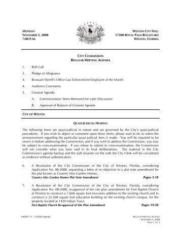 7:00 P.M. 1. Roll Call 2. Pledge of Allegiance 3 ... - City of Weston