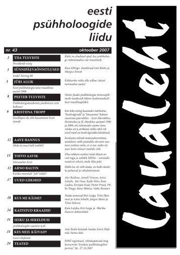 2007 oktoober nr 43 - Eesti Psühholoogide Liit
