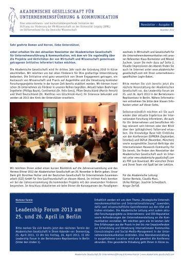 Leadership Forum 2013 am 25. und 26. April in Berlin