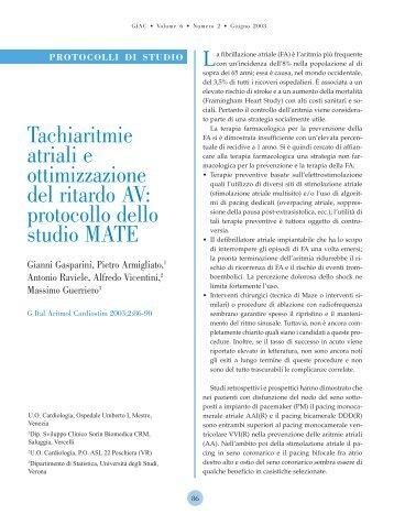 protocollo dello studio MATE - Giornale Italiano di Aritmologia e ...