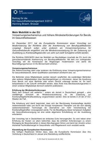 Beitrag für die KU Gesundheitsmanagement 3/2012 Henning Braem ...