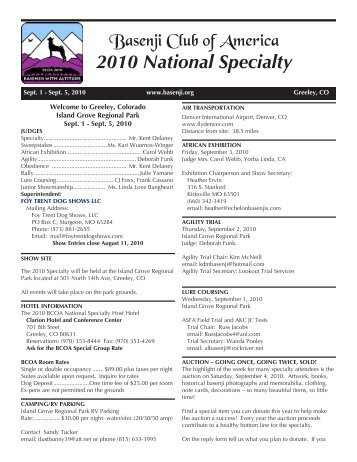 2010 National Specialty - the Basenji Club of America