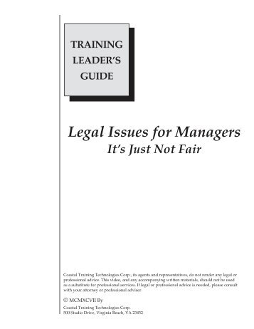 Legal Issues for Managers - Advanced Training Source