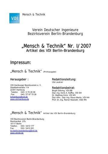 """""""Mensch & Technik"""" Nr. I/2007 - Artikel des VDI Berlin-Brandenburg"""