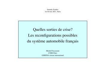 Quelles sorties de crise Reconfigurations ... - Michel Freyssenet