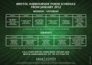 bristol harbourside poker schedule from january 2012 sundays ...