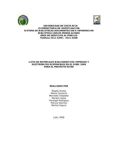 Universidad De Costa Rica Vicerrectoria De Investigacion Sistema De