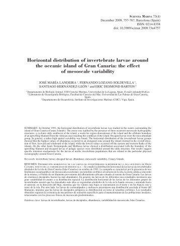 Horizontal distribution of invertebrate larvae around the oceanic ...