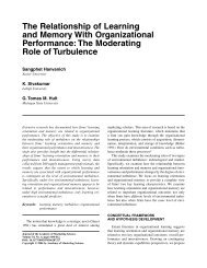 The Relationship of Learning and Memory With Organizational ...