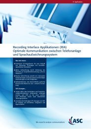 Recording Interface Applikationen (RIA) Optimale ... - ASC telecom