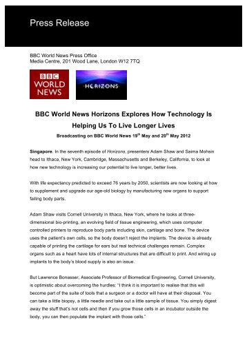 BBC World News Horizons Explores How Technology Is Helping Us ...