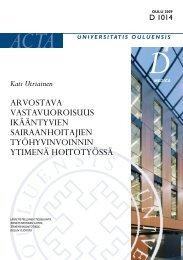 Arvostava vastavuoroisuus ikääntyvien sairaanhoitajien ... - Oulu
