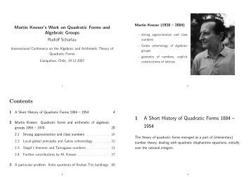 Martin Kneser's work on quadratic forms and algebraic groups.
