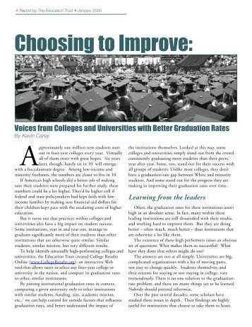 Choosing to Improve Voices from Colleges and Universities with ...