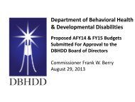 Presentation - Department of Behavioral Health and Developmental ...