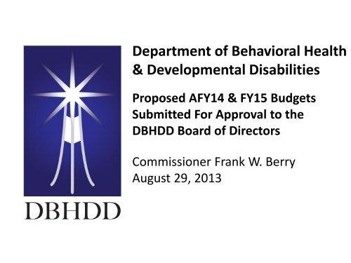 Presentation - Department of Behavioral Health and Developmental ...