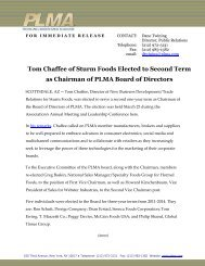 Tom Chaffee of Sturm Foods Elected to Second Term as ... - PLMA