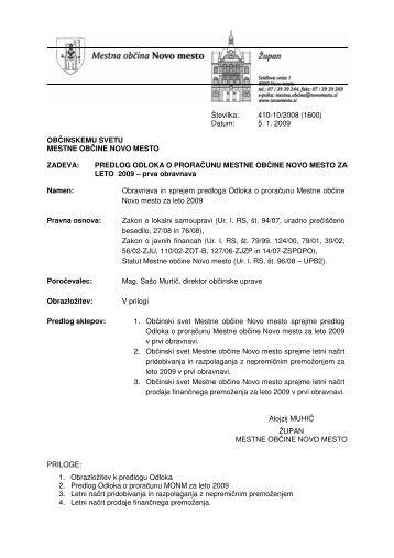 Predlog odloka o proračunu Mestne občine Novo mesto za leto 2009