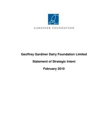 Geoffrey Gardiner Dairy Foundation Limited Statement of Strategic ...