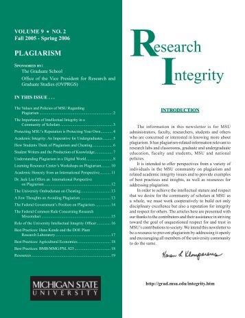 Plagiarism - The Graduate School - Michigan State University