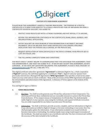 DigiCert Client Certificate - Subscriber Agreement