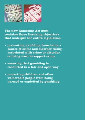 New Gambling Act 2005 - Objectives - Argyll and Bute Council